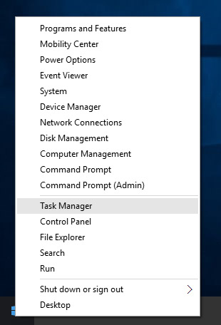 Windows 10 special shortcut menu