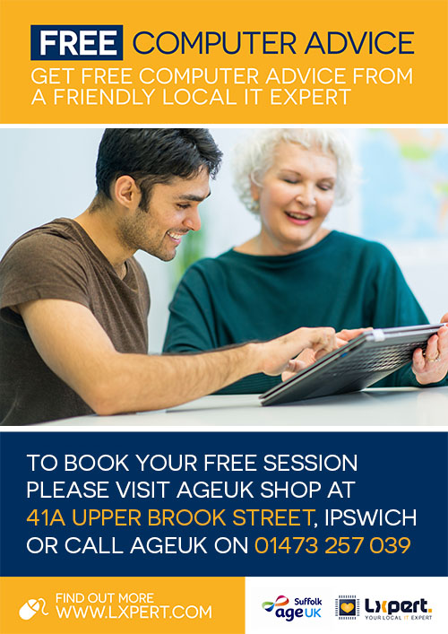 Free computer advice at AgeUK poster