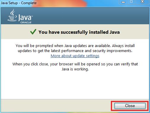 Java Setup Complete