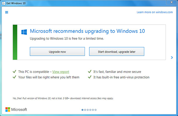 Microsoft recommends upgrading to Windows 10