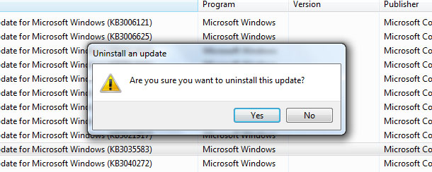 Are you sure you want to uninstall the update?