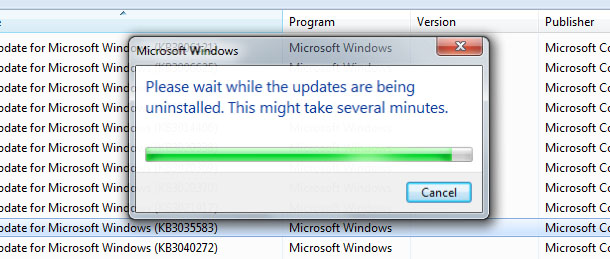 Unintalling update Windows 7