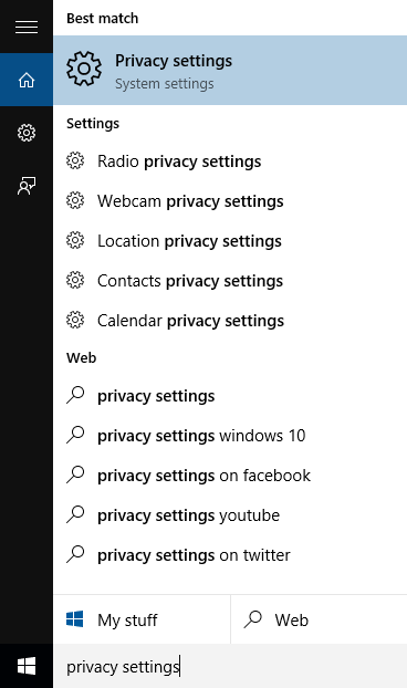 Windows 10, Privacy Settings, System settings