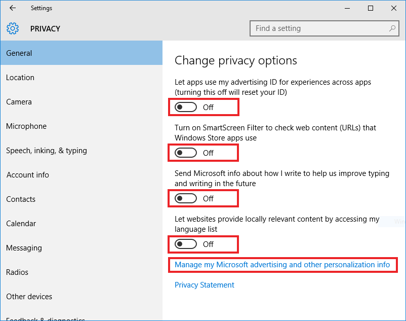 Windows 10, Privacy Settings, General