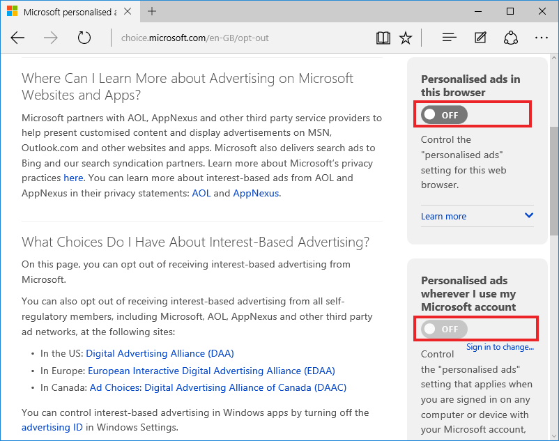Windows 10, Privacy Settings, Personalised browser ads