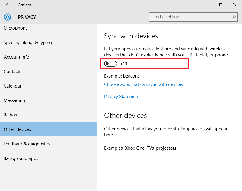 Windows 10, Privacy Settings, Sync with devices
