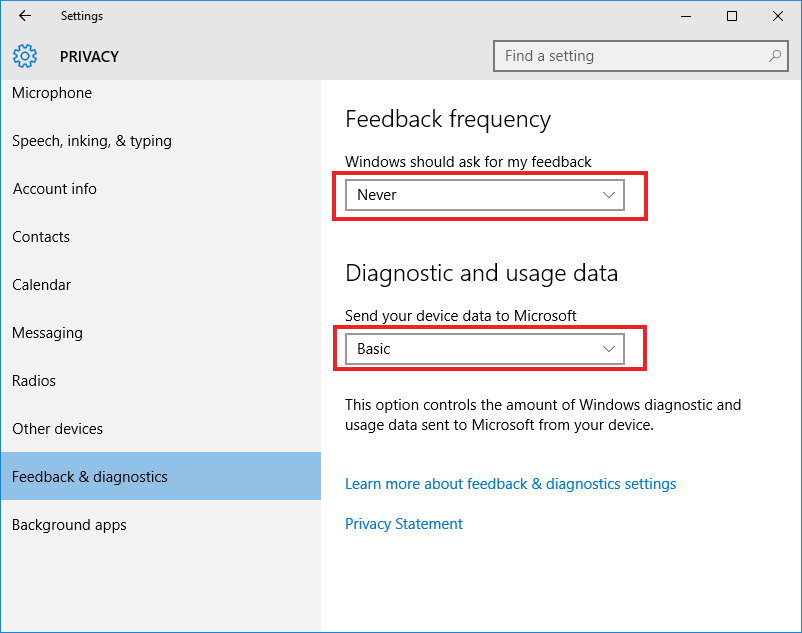 Windows 10, Privacy Settings, Feedback & diagnostics