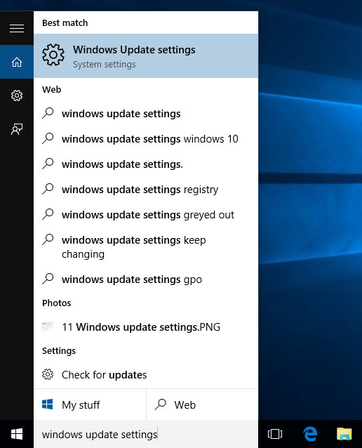 Windows 10, Windows Update settings, System settings