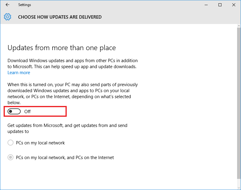Windows 10, Update & Security, choose how updates are delivered
