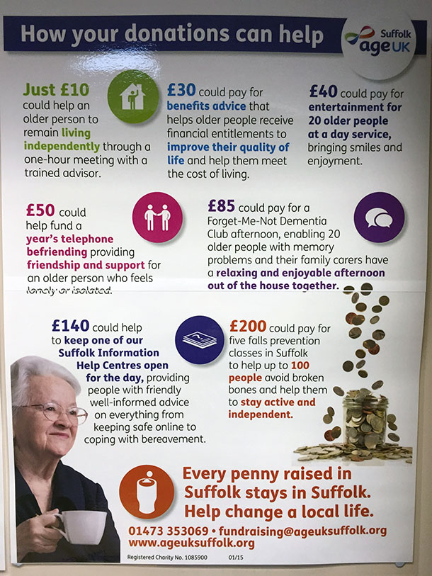 How your donations to AgeUK Suffolk can help change a local life