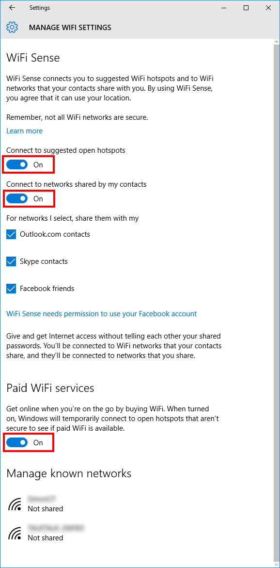 Windows 10 Manage Wi-Fi settings WiFi Sense before