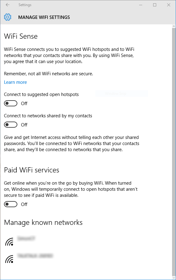 Windows 10 Manage Wi-Fi settings WiFi sense after