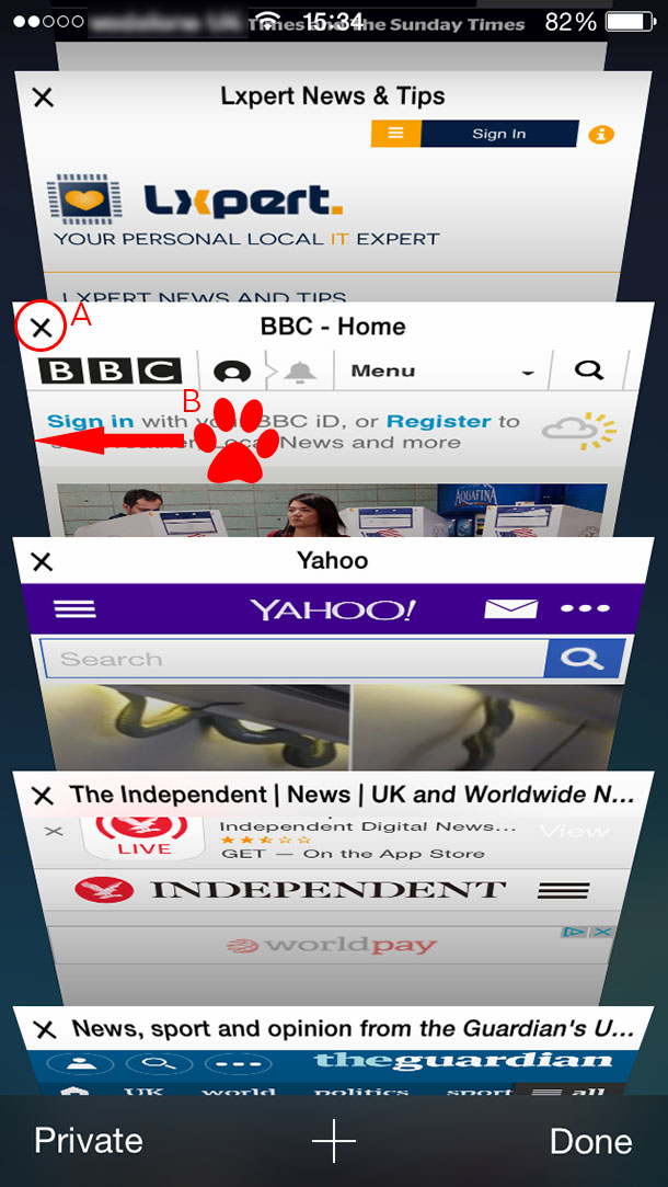 Closing browser tabs on iPhone iOS step 2