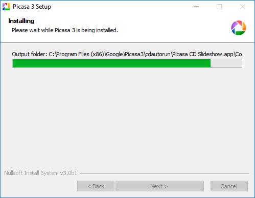 install Picasa - installing