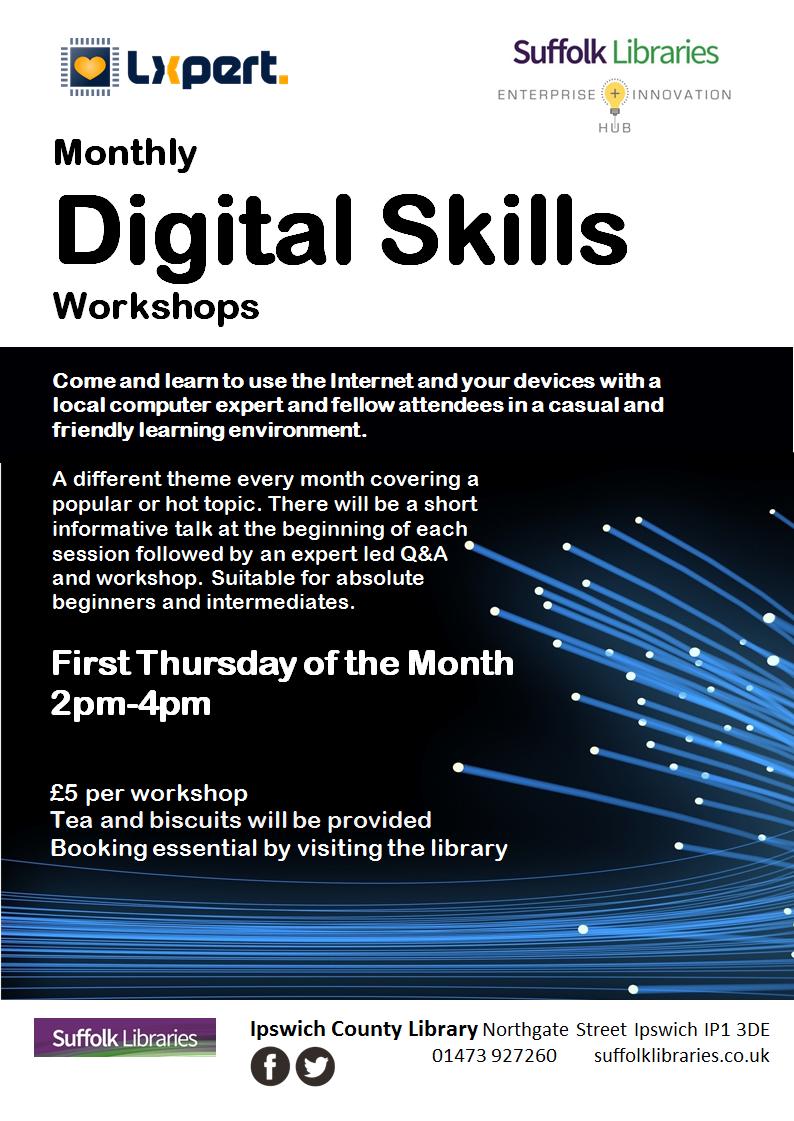 Digital Skills Workshop Library Poster